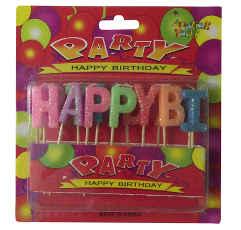Happy Birthday Alphabetical Wax Party Candle