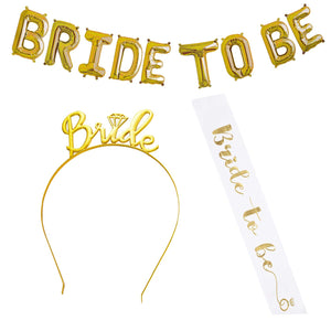 Bride to Be Foil Balloon with Bride to be Tiara and Bride to Be Sash Combo