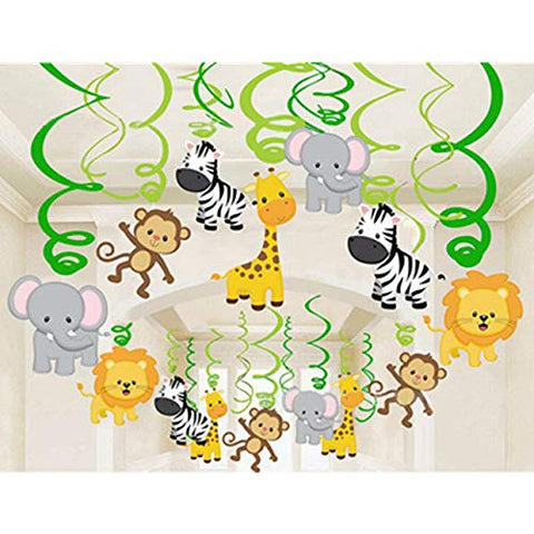 Safari Animal Jungle Ceiling Hanging Swirl Decorations