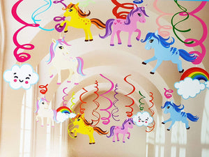 Magical Unicorn 12pcs. Ceiling Hanging Swirl Decorations