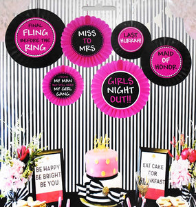 Miss to Mrs Hen Party Paper Fans (Set of 6 pcs)