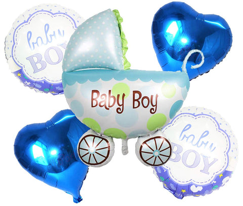 Boy Baby Shower Pram Foil Balloons (Set of 5)