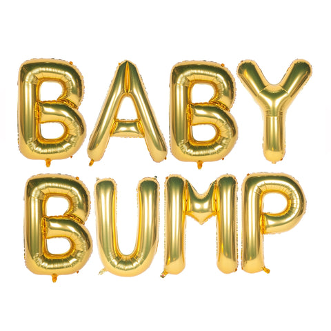 Baby Bump Text Foil Balloons for Baby Announcement / Baby Shower Party Decoration