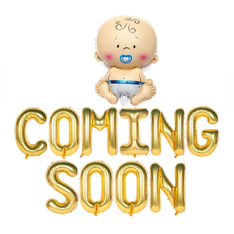 Baby Coming Soon Text Foil Balloons for Baby Announcement / Baby Shower Party Decoration