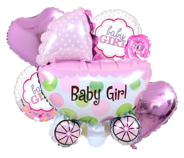Girl Baby Shower Pram Baby Girl Foil Balloons (Set of 5)