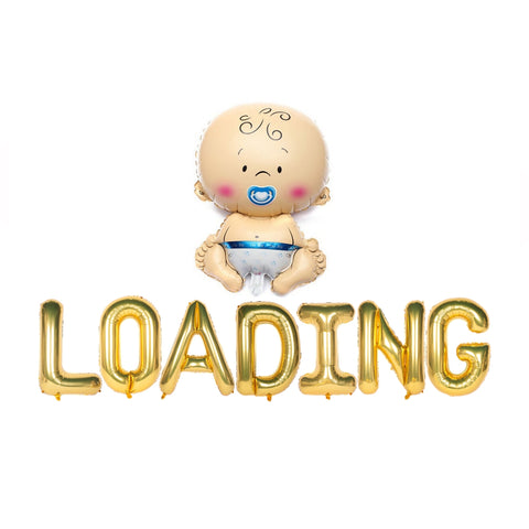 Baby Loading Text Foil Balloons for Baby Announcement / Baby Shower Party Decoration