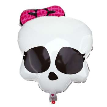 Female Skull with Bow Foil Balloon