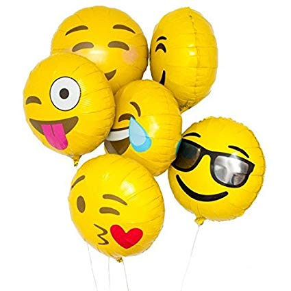 "Emoji Smiley Jumbo 12"" Foil Balloons (Set of 5pcs.)"