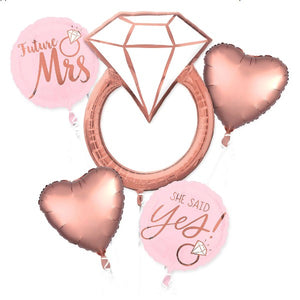 Future Mrs. She Said Yes Rose Gold Engagement Party Balloon Bouquet 5pcs
