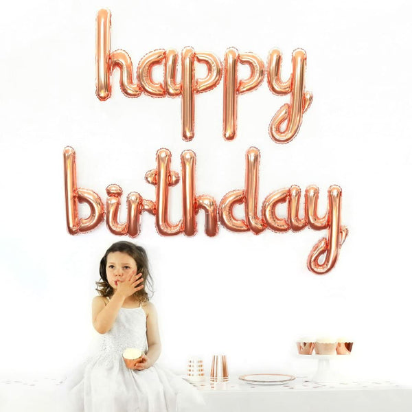 Happy Birthday Cursive Text Foil Balloon (Rose Gold)