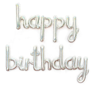 Happy Birthday Cursive Text Foil Balloon (Silver)