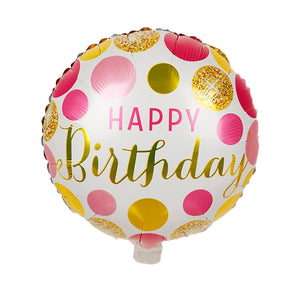 Happy Birthday Round Balloon (Pink & Gold)