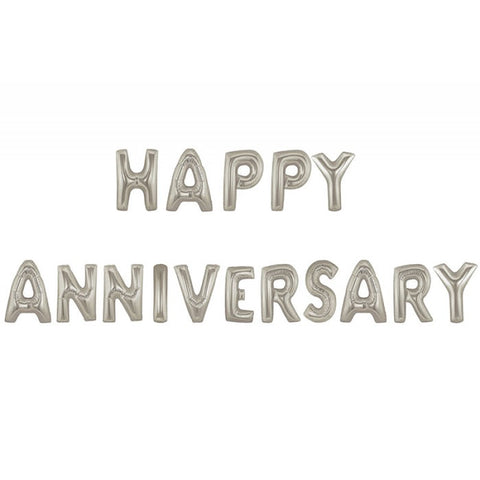 Happy Anniversary Text Foil Balloons (Silver)