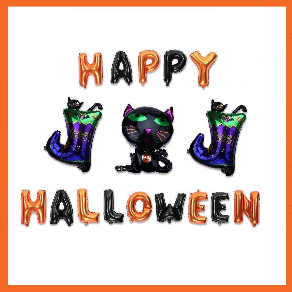 Happy Halloween Cat & Boots Foil Balloons Set