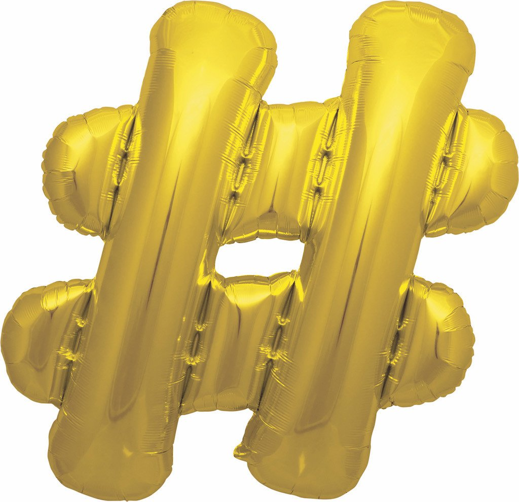 #Hashtag Jumbo Foil Balloon Golden