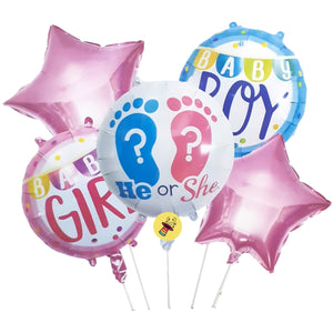 Gender Reveal He OR She Baby Boy Baby Girl Baby Shower Foil Balloons (Set of 5)