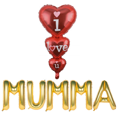 I Love You Mumma Foil Balloons Combo for Mothers Day, Mom's Birthday, Thank You Mom Party Decor and Celebration