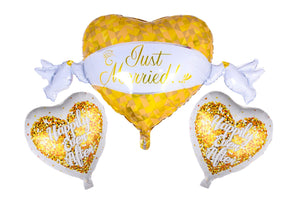 JUST Married Happily Ever After Foil Balloons Bouquet (Set of 3ps)