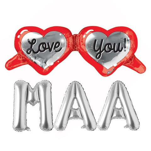 Love You Mom Foil Balloons Combo for Mothers Day, Mom's Birthday, Thank You Mom Party Decor and Celebration
