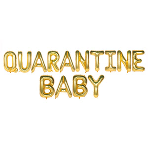 Quarantine Baby Text Foil Balloons for Baby Announcement / Baby Shower Party Decoration