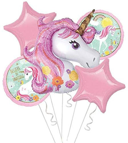 Unicorn Theme Foil Balloon (Set of 5)
