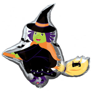 Witch on Broom Foil Balloon