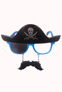 Pirate Moustache Blue Goggle