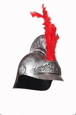 Cosplay Spartan Adult Viking Warrior Costume Silver Helmet with 2 Red Feather Ferns