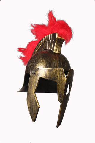 Cosplay Spartan Adult Viking Warrior Costume Half Face Cut Golden Helmet with Fur on Top