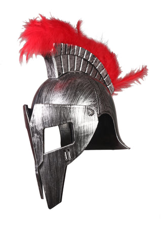 Cosplay Spartan Adult Viking Warrior Costume Half Face Cut Silver Helmet with Fur on Top