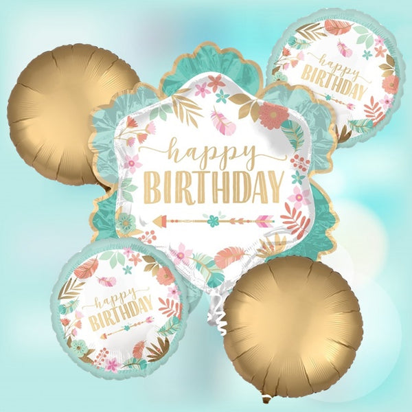 Floral Happy Birthday Foil Balloons Bouquet of 5 pcs. for Botanical Theme Party