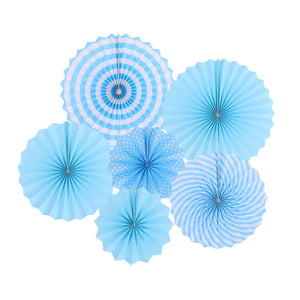 Blue Paper Fans for Party Wall Decor and Backdrop (Set of 6 Pcs.)