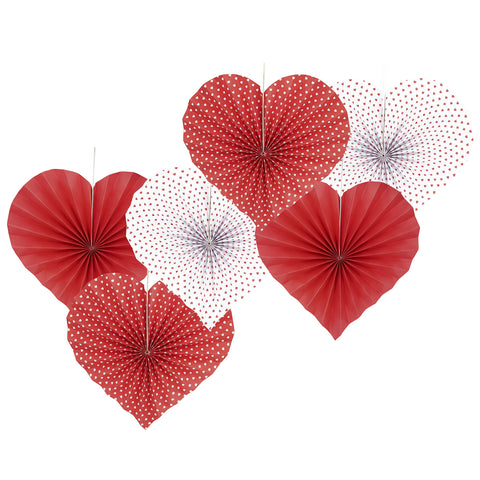 Heart Shape Fan with Small Hearts on Love Paper Fan (6 pcs of 13 inches Each)