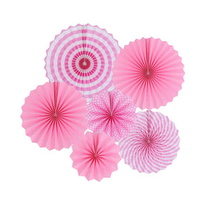 Pink Paper Fans for Party Wall Decor and Backdrop (Set of 6 Pcs.)