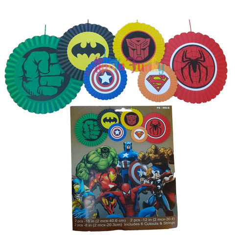 Superhero Avenger Logo Paper Fans for Birthday Theme Party Decoration (Pack of 6pcs)