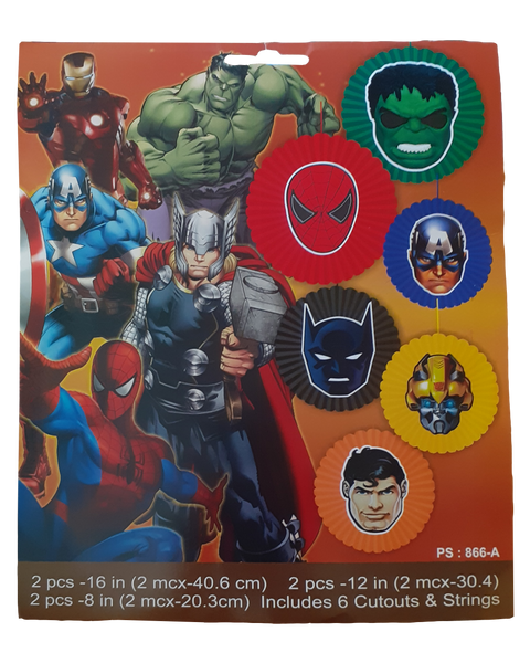 Superhero Avenger Paper Fans (Pack of 6pcs)