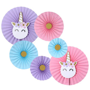 Unicorn Theme Paper Fans (Set of 6) / Unicorn Birthday Decoration / Unicorn Party Fans