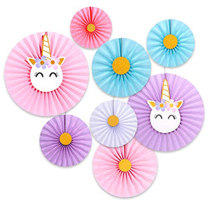 Unicorn Theme Paper Fans (Set of 8) / Unicorn Birthday Decoration / Unicorn Party Fans