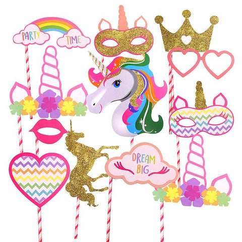 Unicorn Theme Placard Sticks (Pack of 12)