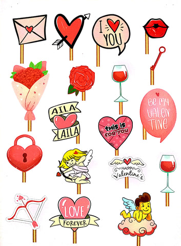 Valentine Photo Booth Placards 18pcs.