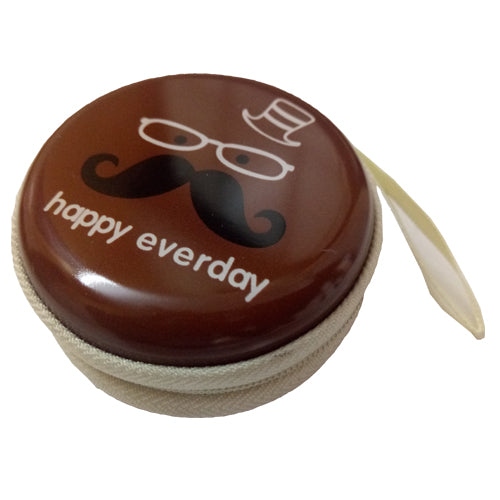 Happy Everyday (Brown) Earphone Pouch