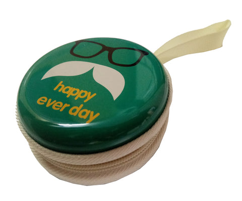 Happy Everyday (Green) Earphone Pouch