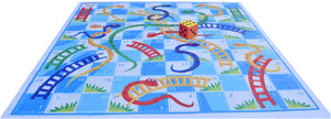 10x10 Ft Snakes & Ladders (Blue-White Theme) Floor Mat with 8 inch Dice