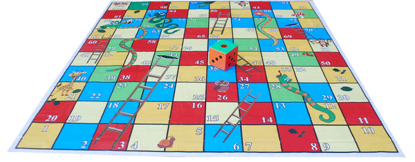 10x10 Ft Snakes & Ladders (Jungle Theme) Floor Mat with 8 inch Dice