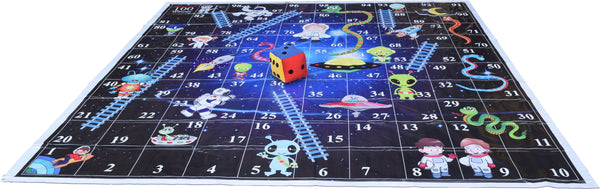 10x10 Ft Snakes & Ladders (Space Theme) Floor Mat with 8 inch Dice