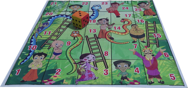 5x5 Ft. Snakes & Ladders (Chhota Bheem Theme) Floor Mat with 8 inch Dice