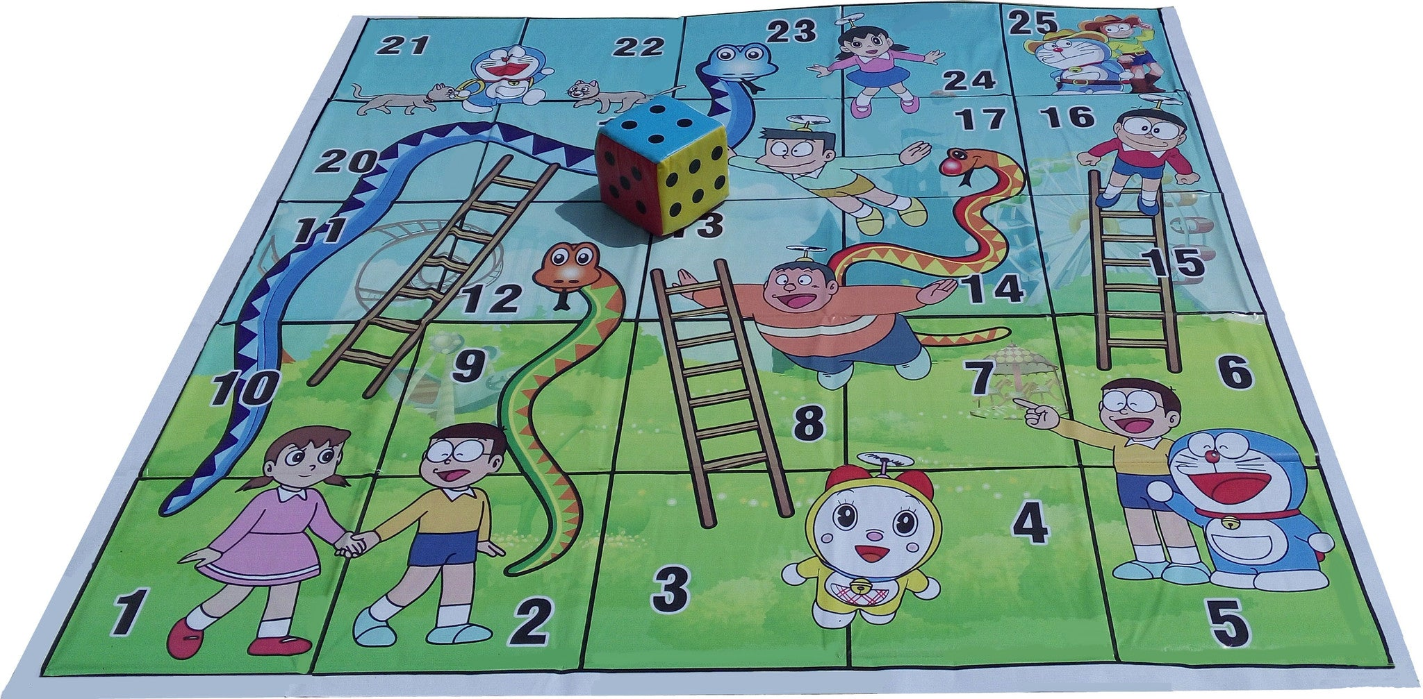 5x5 Ft. Snakes & Ladders (Doraemon Theme) Floor Mat with 8 inch Dice