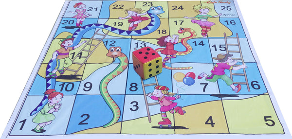 5x5 Ft. Snakes & Ladders (Kids Theme) Floor Mat with 6 inch Dice