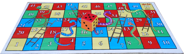 9 x 5 Ft Snakes & Ladders Floor Mat with 8 inch Dice