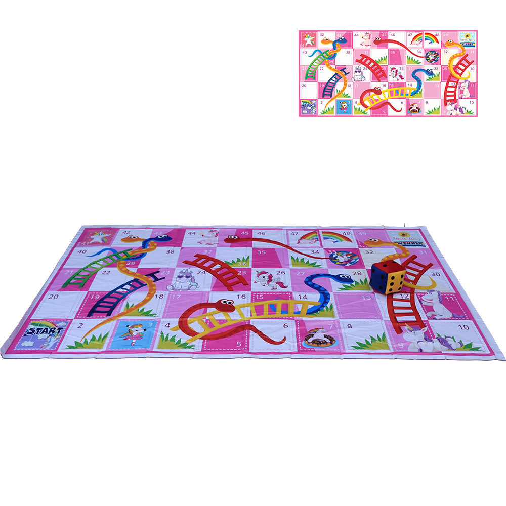 50 Blocks 9x5 Feet Unicorn Theme Snakes & Ladders Floor Mat with Jumbo Dice